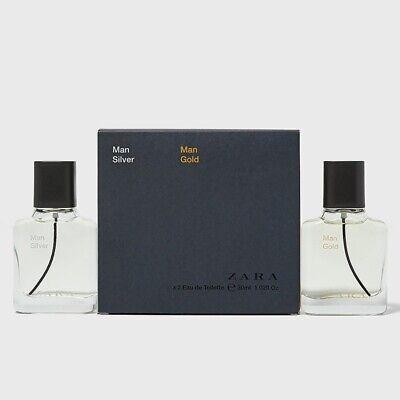 ZARA MAN SILVER + GOLD Eau de Toilette 2 x 1.02 oz (30ml) EDT Spray NEW & SEALED