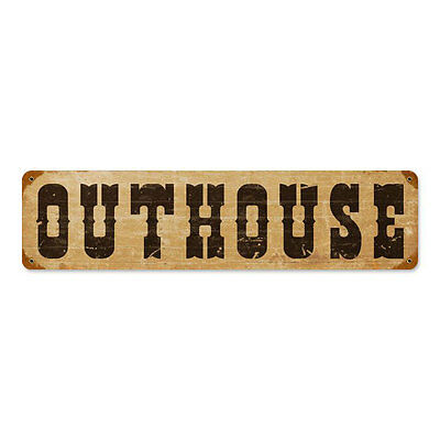 "Vintage Style Retro Rusty Rural Country Outhouse Steel Metal Sign 20"" x 5"""