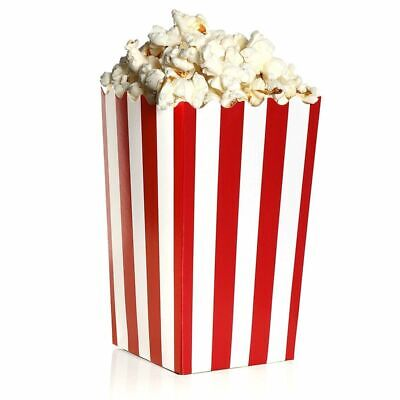 100 Mini Popcorn Boxes 3x5 Party Snack Favor Treat Containers Red/White, 20 Oz Mini Treat Boxes