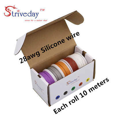 50mbox 28awg 5 Colors 10metersroll Flexible Silicone Rubber Tinned Copper Wire