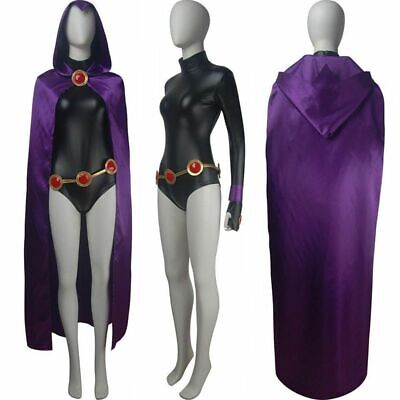Raven Cosplay Costume (Raven Cosplay Costume Women Cape Jumpsuit Cloak Teen Titans Anime Sexy)