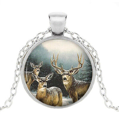 Reindeer Christmas Art Photo Cabochon Glass Silver Pendant Chain Necklace