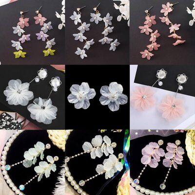 (Fashion Crystal Pearl Women Flower Drop Dangle Stud Earrings Ear Stud Jewelry)