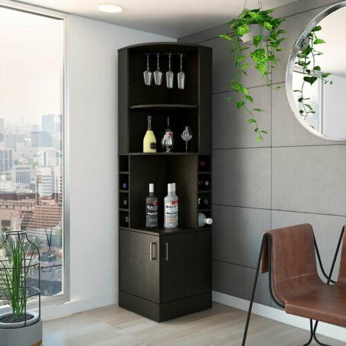 Corner Bar Liquor Wine  Bar Cabinet Storage Wood  Stemware Rack Black Furniture