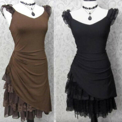 New Women Steampunk Dress Romantic Medieval Lace Up Dress Victorian Goth Costume (Victorian Costume Women)