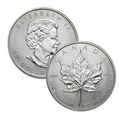 1 oz Canadian Palladium Maple Leaf $50 Coin .9995 Fine - Random Year RCM Leaf