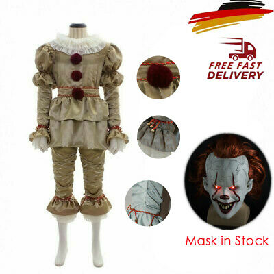Neu Pennywise Das Clown Festgeleg Outfit Es Stephen King Cosplay Karneval Kostüm