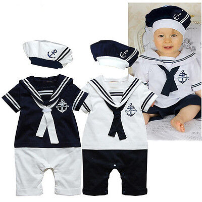BABY BOYS SAILOR WHITE NAVY SHORT SLEEVE ROMPER + HAT BABY PLAYSUIT OUTFIT SETS Boys Short Sleeve Romper