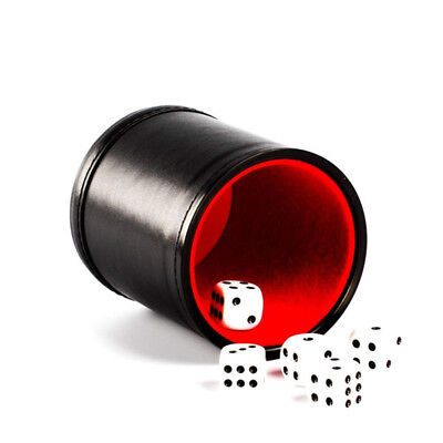 Felt Lined Black Leather Dice Cup with 5 Dot Dices Set Pack Bar Casino Tool QL - Lined Black Leather