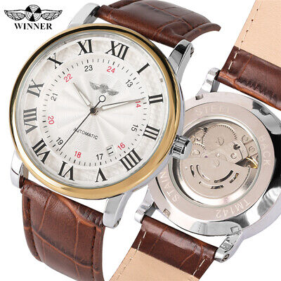 WINNER Top Brand Luxury Men Mechanical Automatic Wrist Watch Date Leather Band