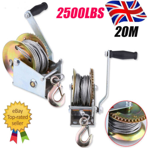 Manual Hand Winch 2500lbs Boat Trailer Caravan 20m 65ft Cable Length Marine #T