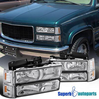 For 94-98 GMC C10 C/K Sierra Headlights+Bumper Corner Lights Replacement Pair