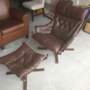 Sigurd Russell High Back Winged Leather Falcon Arm Chair/Ottoman