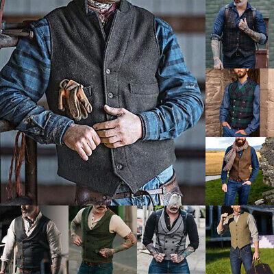 Fashion Men's Plaid Vests Suit Wool Herringbone Tweed Waistcoat Lapel -