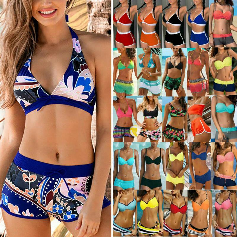 Damen Badeanzug Tankini Bikini Top Boxershorts Hose Strandkleidung Sporty Set