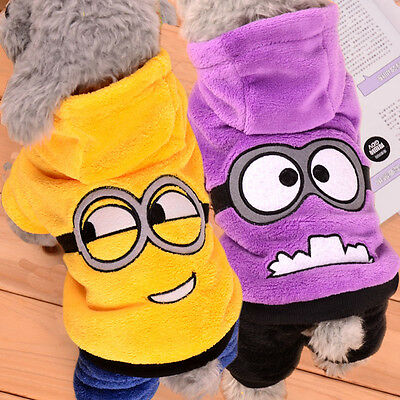 Winter Dog Fleece Warm Coat jacket Pet Clothes Puppy Cat Sweater Minion Costume ](Minion Cat Costume)