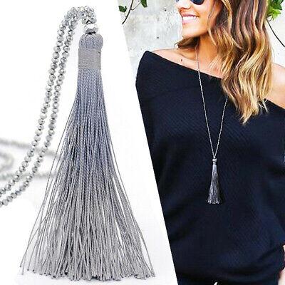 1pcs Women Long Tassel Pendant Crystal Bead Chain Necklace Fashion Jewelry Gift Fashion Pendant Bead Necklace