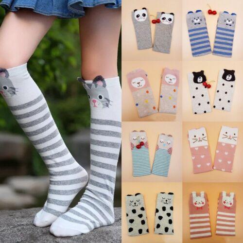New Girls Cartoon Toddler Warm Long Socks Kids Child Knee Hi