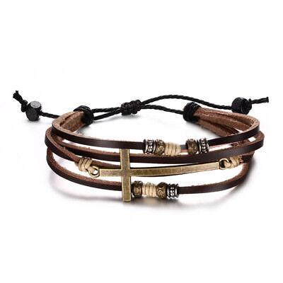 Gold Cross Bracelet Bangle For Women Men Rope Chain Leather Bracelet