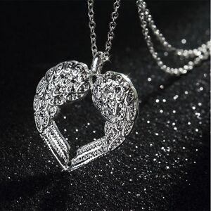 925er Silber Halskette Kette Herz Engelflügel Engel Liebe Love Anhänger Sabo Neu