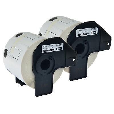 2pk 62mm Dk-1209 Standard Address Paper Label For Brother Dk1209 Ql-550 Ql-570