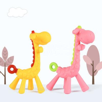 Baby Silicone Teethers Cartoon Giraffe Shape Infant Newborn Hanging Molars Toys