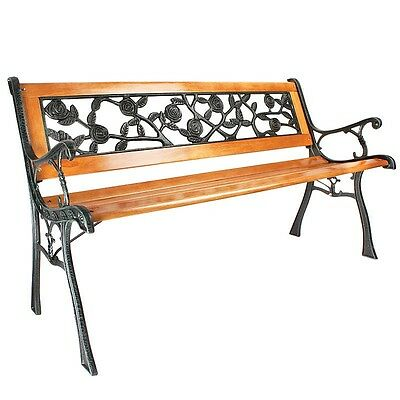 Verdigris and Wooden Seating Area Garden Bench (With Cast Iron Arms and Legs)