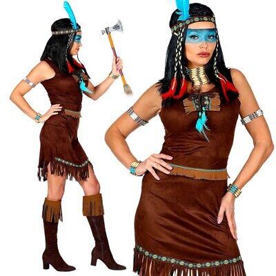 Indianerin Squaw Damen Kostüm Wildleder Optik dunkelbraunes 3-tlg. Kleid #211
