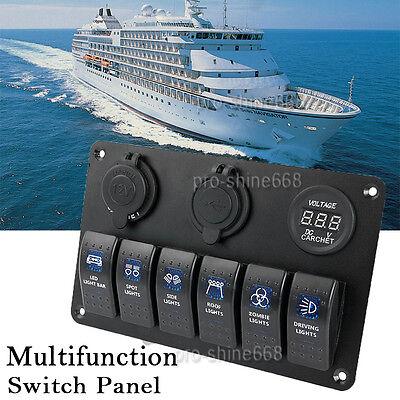 Boat RV Switch Panel 6 Gang LED Rocker Switch Circuit Breakers Pretty Waterproof