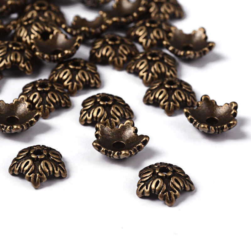 50pc Tibetan Style Five Petal Flower Pendants Charms Lead Free Antique Silver