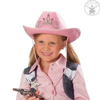 RUB 4110243 Cowgirl Cowboyhut Kinder Mädchen Strassdiadem Karneval rosa Hut  ()