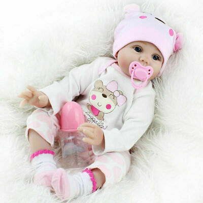 55cm reborn Baby Puppe Lebensecht Handgefertigt Weich Silikon-Vinyl Mädchen Reborn Puppe Zubehör