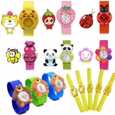 Cartoon Slap Snap On Silicone Wrist Watch Boys Girls Children Kids Watch Gifts