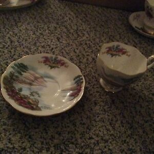 For sale-Queen Anne Ye Banks & Braes china cup & saucer.