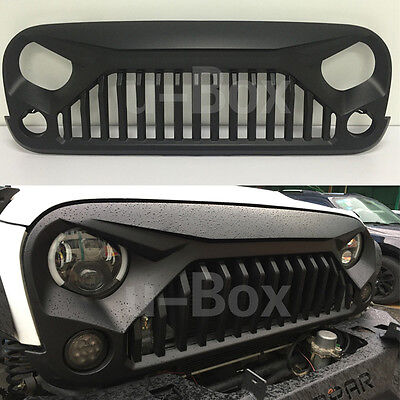 Matte Black Angry Bird Upgraded Grill Grille For 2007-2017 Jeep Wrangler JK