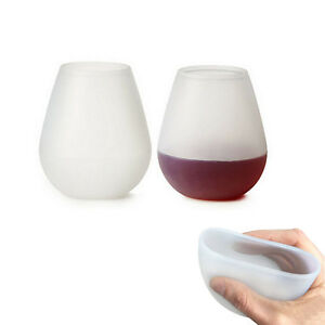 Unbreakable Silicone Wine Glass Collapsible Stemless Beer Whiskey Portable Cups