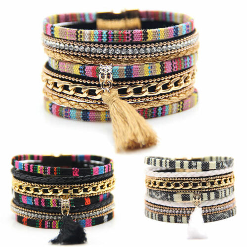Bracelet - Fashion Women New Leather Bracelet Rhinestone Bangle Charm Wristband Cuff Gift