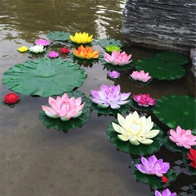 5Pc Artificial Fake Floating Water Lily Flower Pond Plant Garden Pool Decors (Water Lily Flower)