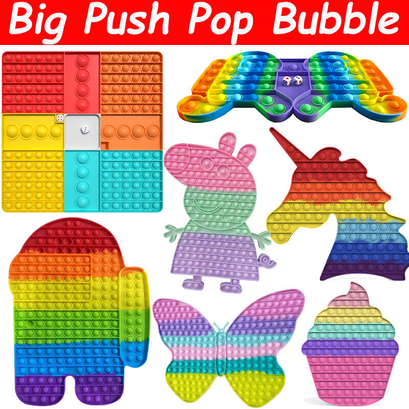 Big Size Jumbo Popit Push Fidget Toy Bubble Sensory Stress Relief Rainbow Toy