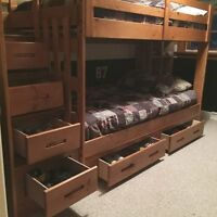 SOLD! Ponderosa Staircase Bunk Bed + Trundle & Mattresses