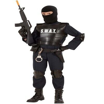 7 tlg. Kinder Komplett Kostüm S.W.A.T AGENT Polizei 116, 128, 140, 158, 164 SWAT (S W A T Kind Kostüme)