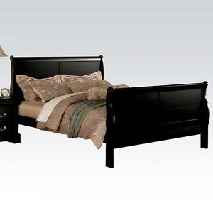 Phillipe black sleigh kd headboard sturdy wood twin full queen bed