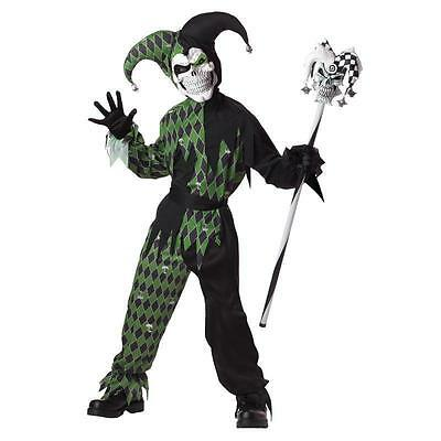 NWT DELUXE GREEN EVIL JESTER JOKES ON YOU BOYS HALLOWEEN COSTUME OUTFIT - - Jester Outfit