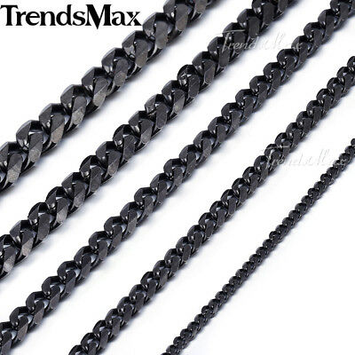 Mens Stainless Steel 3/5/7/9/11mm Black Tone Curb Cuban Link