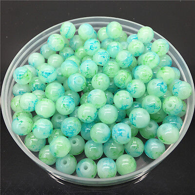 30Pcs 8mm Double Color Glass Pearl Round Spacer Loose Beads Jewelry Making 8#61