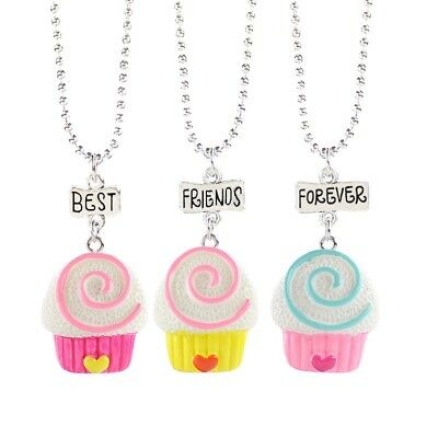 3PCS Kids Best Friend Forever Necklace lollipop Pendants Necklaces For