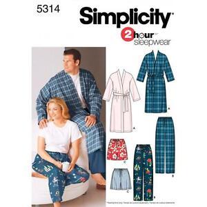 SIMPLICITY-CUCITO-MOTIVO-Taglie-Forti-Donna-Uomo-PIGIAMA-S-XXXL-5314-A