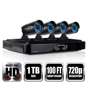 NEW MINT 4pk Wired Night Vision Security Camera System DVR