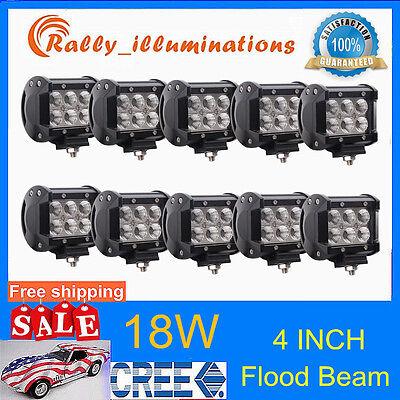 10X 18W 4'' Inch CREE Flood LED Light Bar Work Driving Lamp Offroad Truck ATV RL