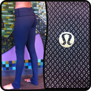 "Lululemon Wunder Under 28"", size 4, RARE patterns! BLACK"